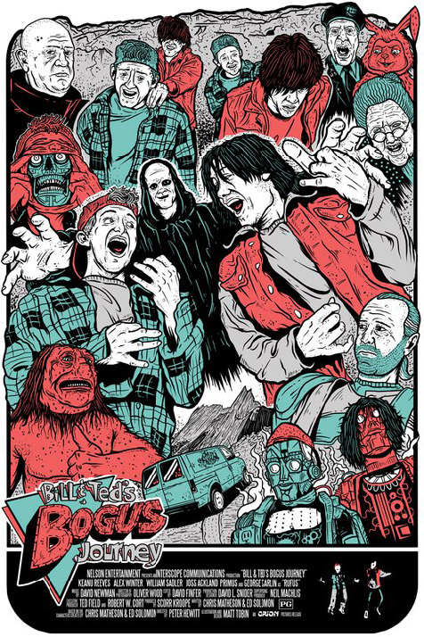 Bill & Ted's Bogus Journey illustrated movie poster