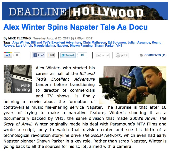 Alex Winter profiled in Downloaded article in Deadline Hollywood