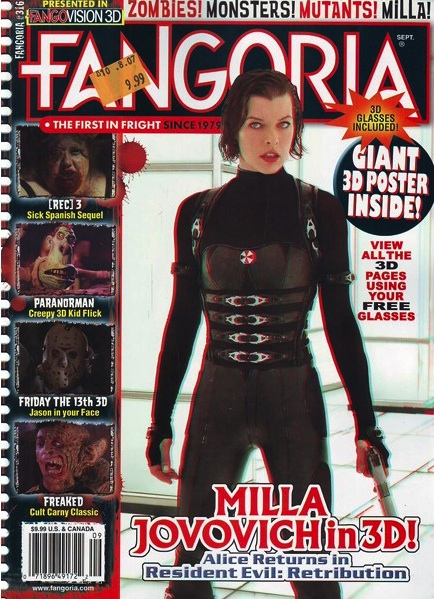 Fangoria magazine cover featuring Milla Jovovich's Resident Evil and Alex Winter's Freaked