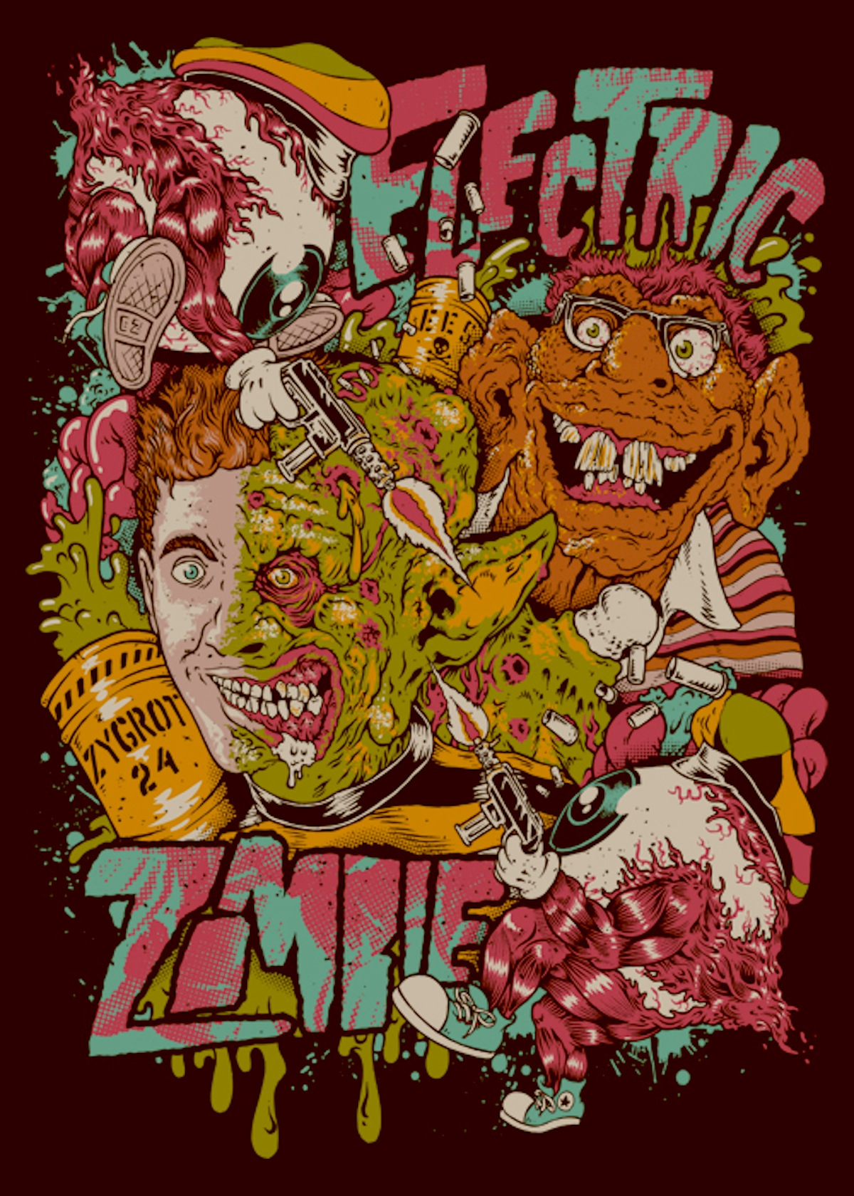 Freaked illustrated movie poster Electric Zombie Freekshow with extra Zygrot 24
