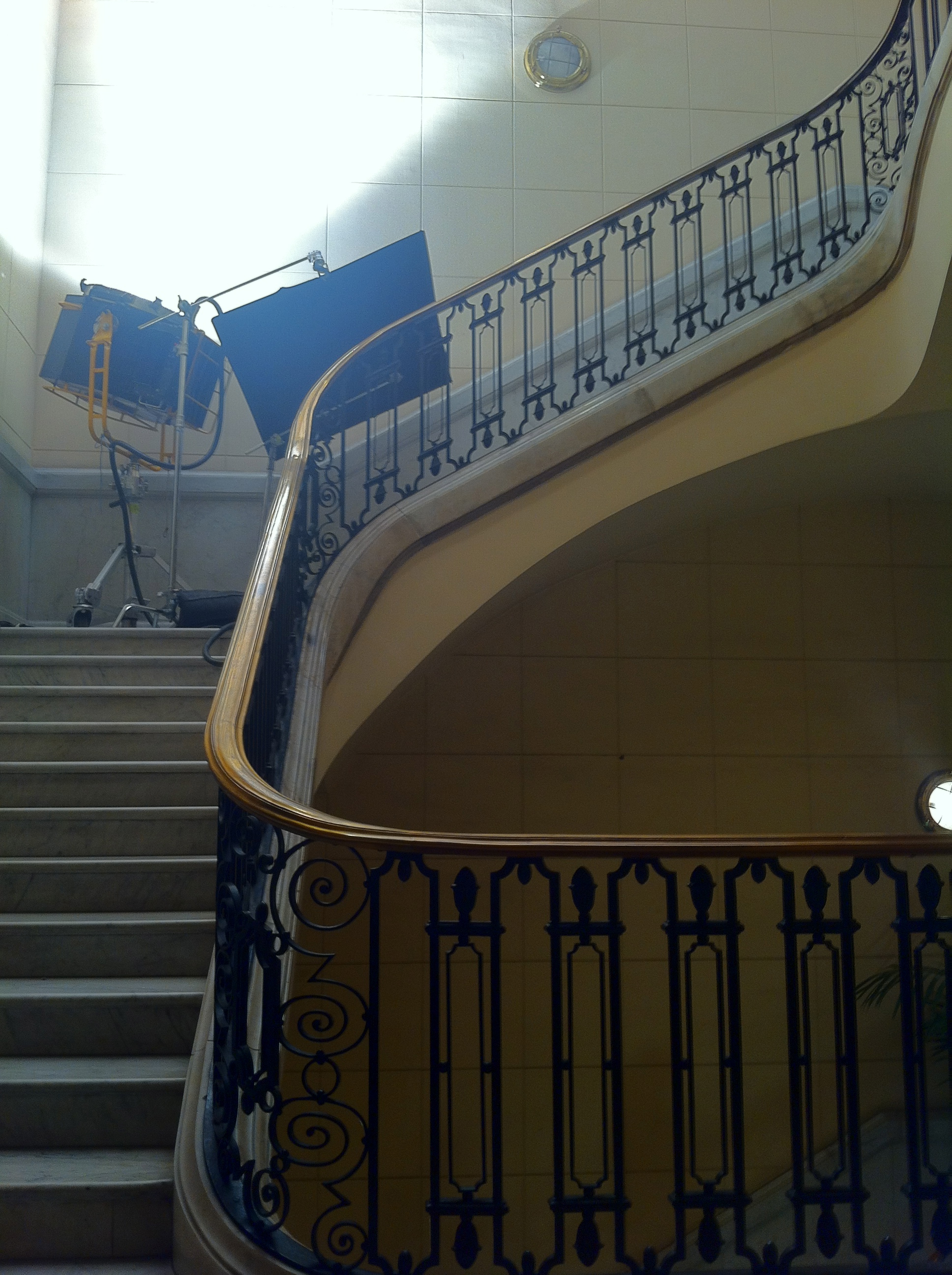 Stairwell on the set of Grand Piano, photo by Alex Winter