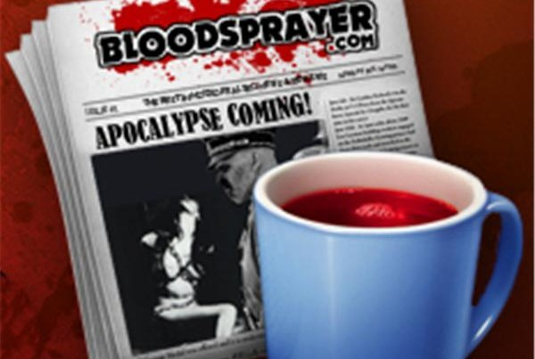 Bloodsprayer logo with newspaper and blood-filled coffee mug