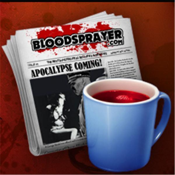 Bloodsprayer logo with newspaper and blood-filled coffee mug