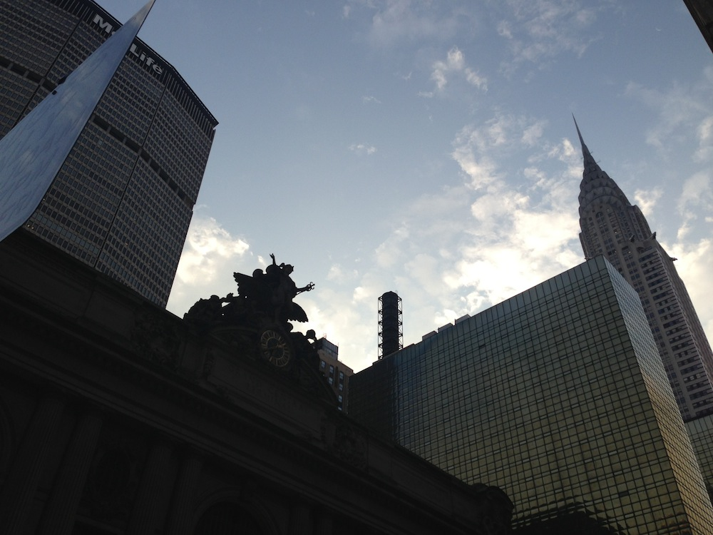 Alex Winter photo of the NYC skyline looking up from the ground