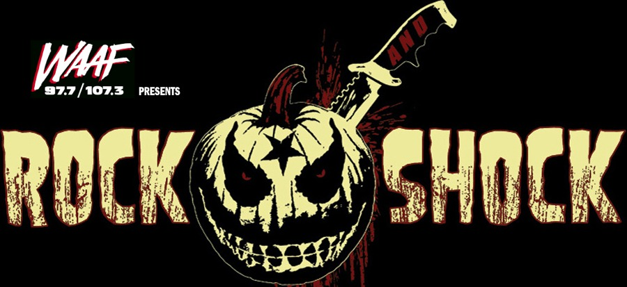 Radio WAAF Rock Shock logo with carved pumpkin head