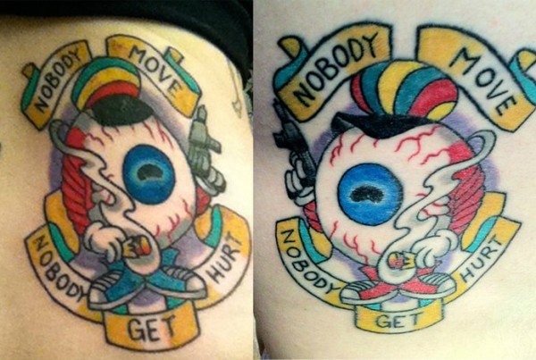 Freaked Tattoo nobody move nobody gets hurt eyeball